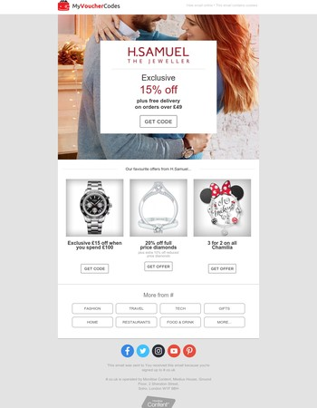 15% Off H.Samuel - Rings, Necklaces, Watches and more
