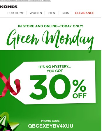 Did you get 40%, 30% or 20% off? Reveal your Green Monday Mystery Savings now!