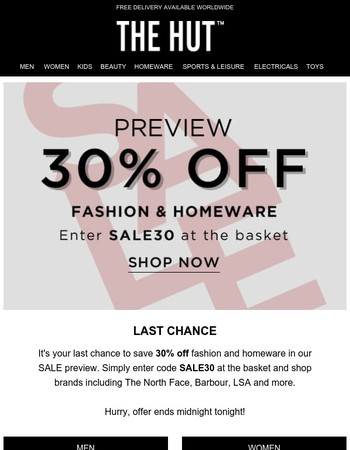 Ends midnight | 30% off SALE preview