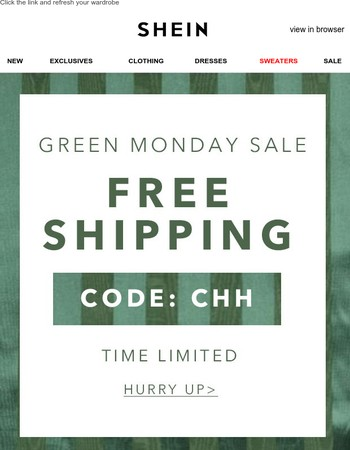 Green Monday Sale: Free shipping on all orders