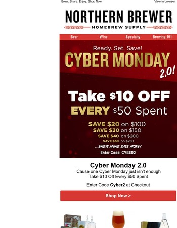 $10 Off Every $50  Who Says Cyber Monday Only Comes Once A Year?