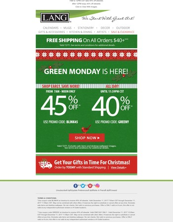 Green Monday Flash Sale - 45% Off Sitewide