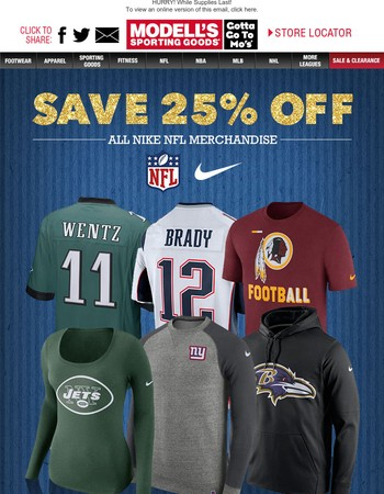 The BEST Gift: 25% Off Nike NFL Merchandise