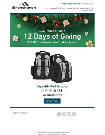 One Day Only: 50% OFF the Expandable Tred Backpack!