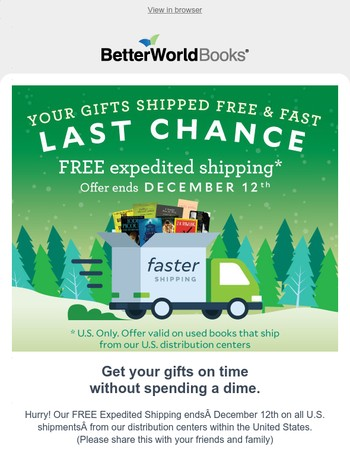 Last Chance for Free Expedited Shipping