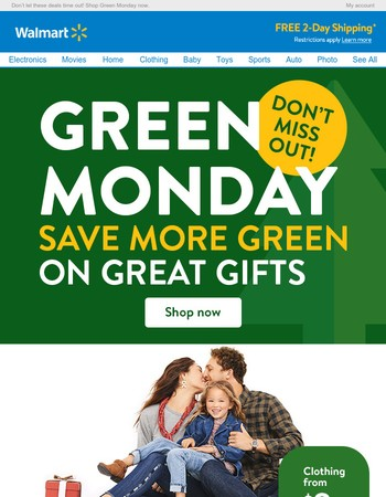 ANNOUNCING: Green Monday deals start NOW!