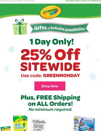 Today Only: 25% off + Free Shipping
