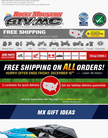 Free 3 Day Shipping on ALL orders and Holiday Delivery Guarantee!