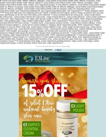 FLASH SALE - 15% OFF select E3Live Natural Beauty Skin Care Items