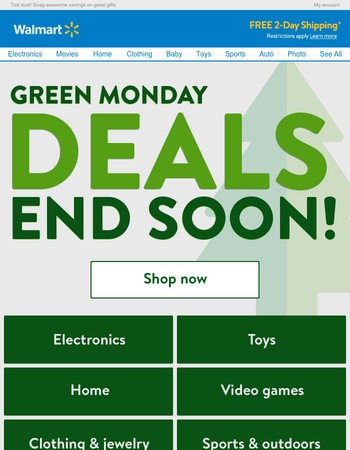 Just hours left for Green Monday deals on great gifts!