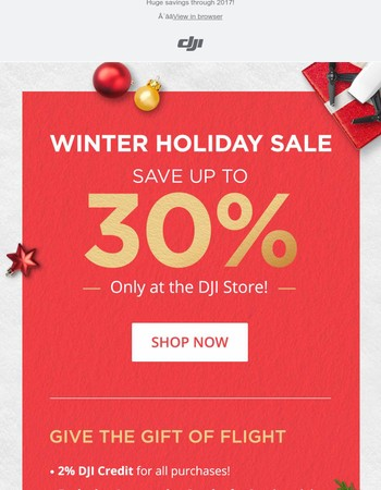 Save up to 30% at the DJI Winter Holiday Sale!