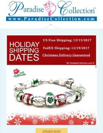 Shipping Deadlines for Christmas 2017 @ ParadiseCollection.com