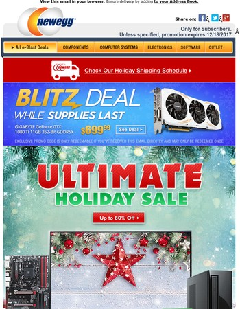 Ultimate Holiday Sale - Up to 80% OFF + GIGABYTE GeForce GTX 1080 Ti $699.99