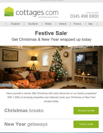 1000s of reductions on festive properties