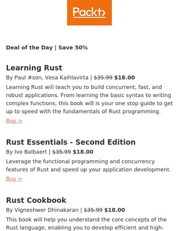 Learn and master Rust with ease | 50% off Rust eBooks today only