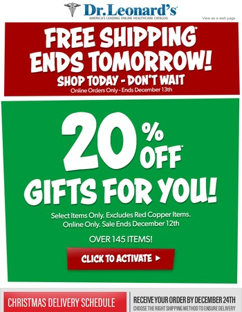 Treat Yourself! 20% Off Gifts For You Today Only! Shop Now.