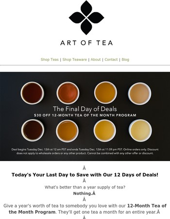 Get or Give a Year's Supply of Tea for Our 12th Day of Deals!