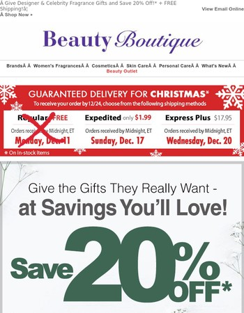 Give Designer & Celebrity Fragrance Gifts and Save 20% Off! + FREE Shipping