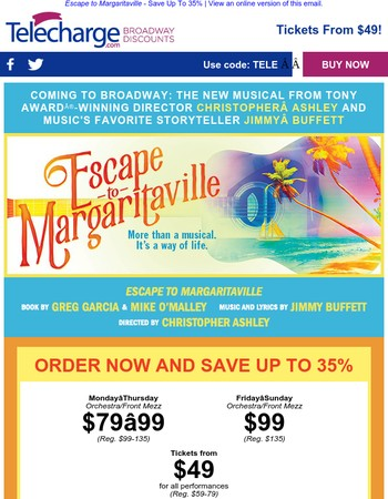 Save up to 35% on ESCAPE TO MARGARITAVILLE on Broadway this winter