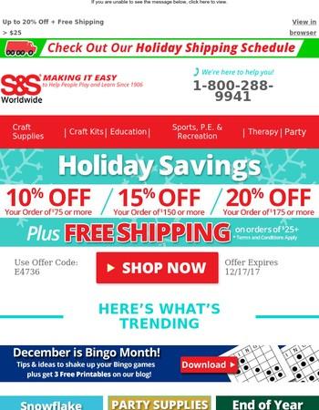 Ho-Ho-Holiday Savings Inside -  Up to 20% Off + Free Shipping!