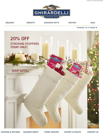 Don't Miss Out! 20% Off Stocking Stuffers Today Only!