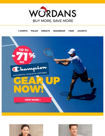 Up To -71% on Champion Brand! Gear Up Now!