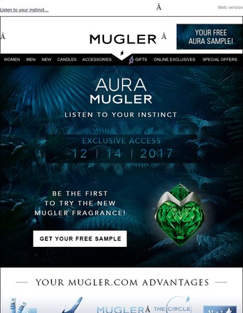 Receive a FREE Sample of the New AURA Mugler Fragrance