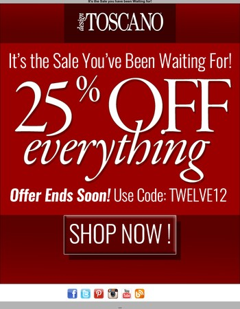 The Biggest Sale of the Year!  25% Off Sitewide Starts NOW!!