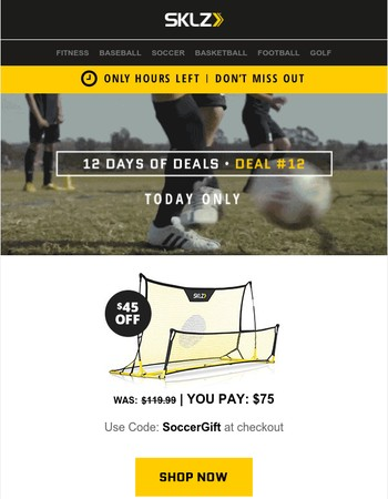 Only Hours Left! $45 OFF Quickster Soccer Trainer!
