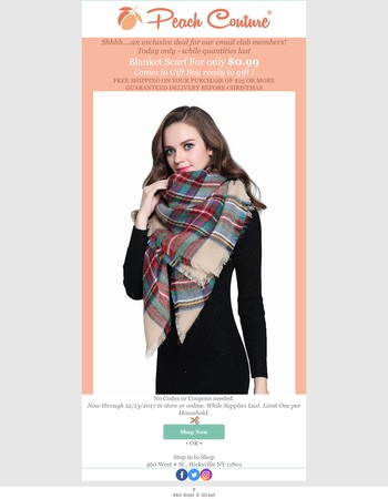 Shhhh….an exclusive SUPER deal- Blanket scarf for $0.99
