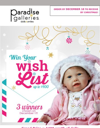 Win your Wish List...Enter by 12/17  3 WINNERS!