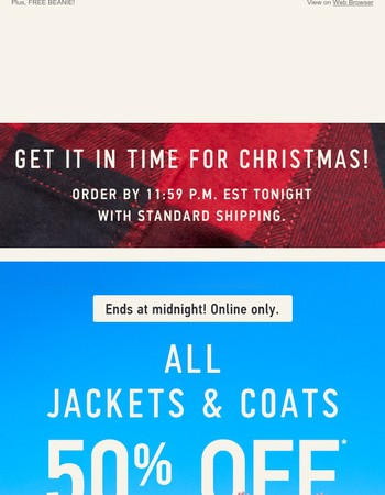 HOURS LEFT! 50% off ALL jackets & coats!