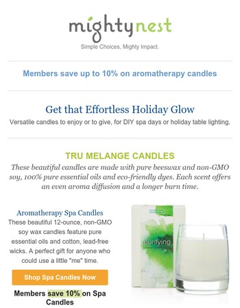 That holiday glow...comes from non-GMO wax candles.