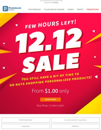 Don't miss out on our 12.12 deals from only $1.00