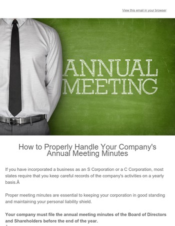 Have You Completed Your 2017 Annual Meeting Minutes?