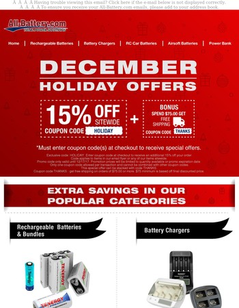 FINAL Hours For Holiday Savings: 15% Sitewide Code, Free Shipping Offers, & More