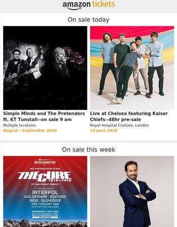 New: Simple Minds & The Pretenders, The Cure, Kaiser Chiefs at Live at Chelsea pre-sale