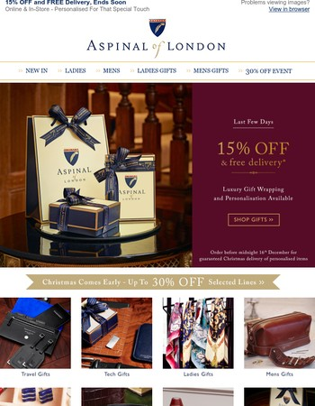 15% OFF and FREE Delivery - Luxury Gifts for Christmas - Last Few Days