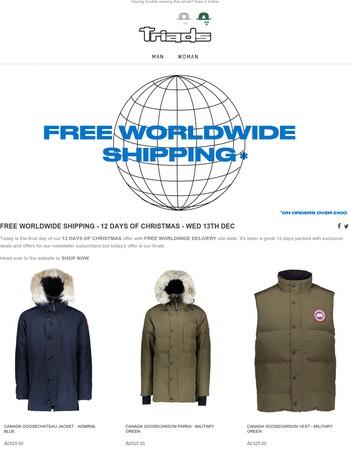 FREE WORLDWIDE SHIPPING - 12 DAYS OF CHRISTMAS