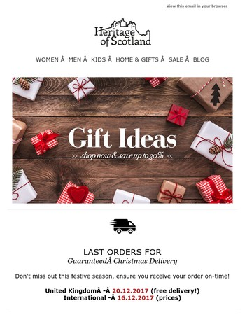 Gift Ideas Up To 30% Off!Don't miss out this festive season, ensure you receive your order on-time!