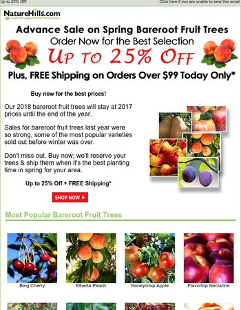 Advance Sale on Spring Bareroot Fruit Trees + FREE Shipping