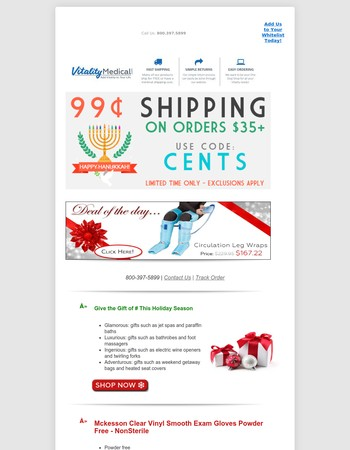 Huge Savings! 99¢ SHIPPING on Your Next Medical Supply Order