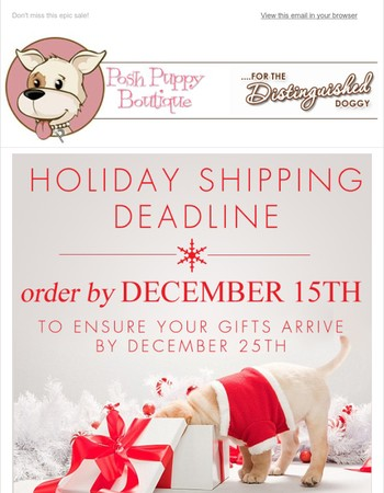Don't Wait! Order by Dec 15th for Holiday Arrival!