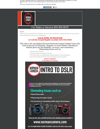 Norman Camera Grand Rapids Beginning Digital Classes Scheduled for January  They make a Great Gift.