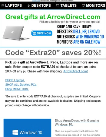 Apple, Lenovo, & Dell Electronics on Sale now at ArrowDirect