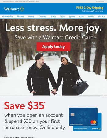 Online Only: Save $35 when you open a Walmart Credit Card and spend $35 today