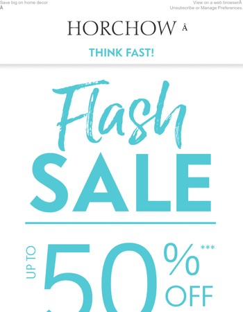 FLASH SALE! Up to 50% off until 5pm CT only