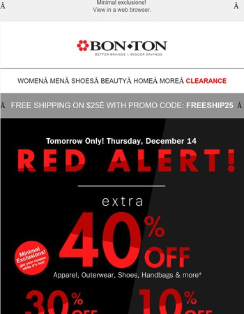 RED Alert! 40% off Coupon • Minimal Exclusions • Tomorrow Only!