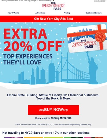 Gift NYC's Icons   20% off   All-Inclusive Sightseeing Passes
