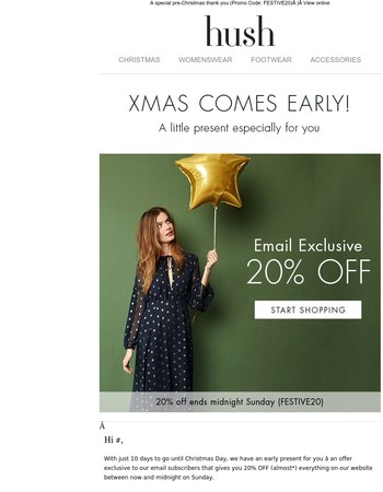 Email exclusive! Get 20% OFF this weekend…